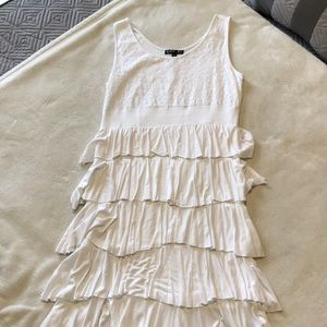 White Tiered Sleeveless Dress (Color FX)